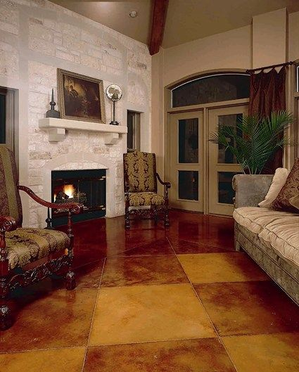 Brown Checkered Stain Concrete Floors Kemiko Decorative