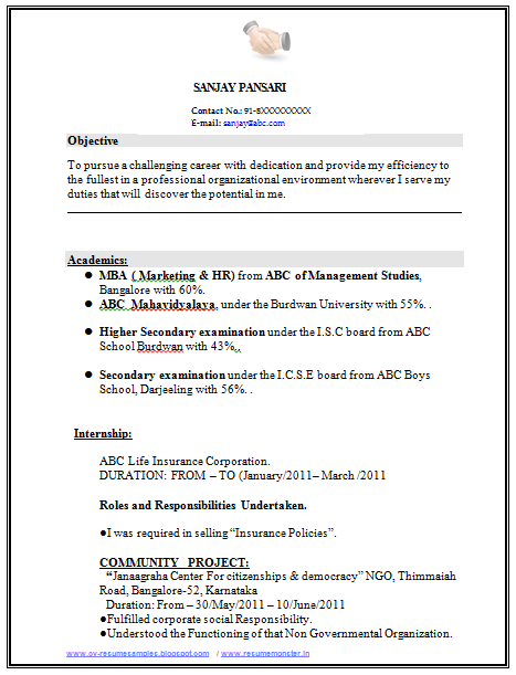 sample template of excellent fresher or experience resume with career objective and job profile