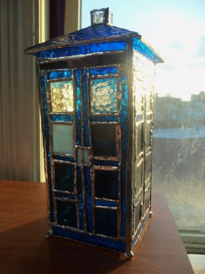 Stained glass TARDIS, by Alexandria (aka Xandrigirly) on Crafster