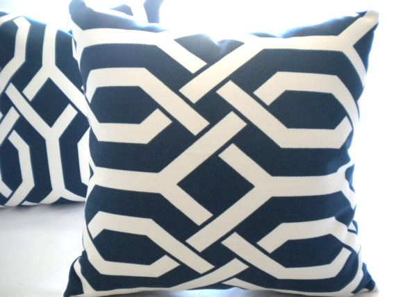 Designer trellis Navy and white pillow cover 20 x 20 by MicaBlue, $42.00