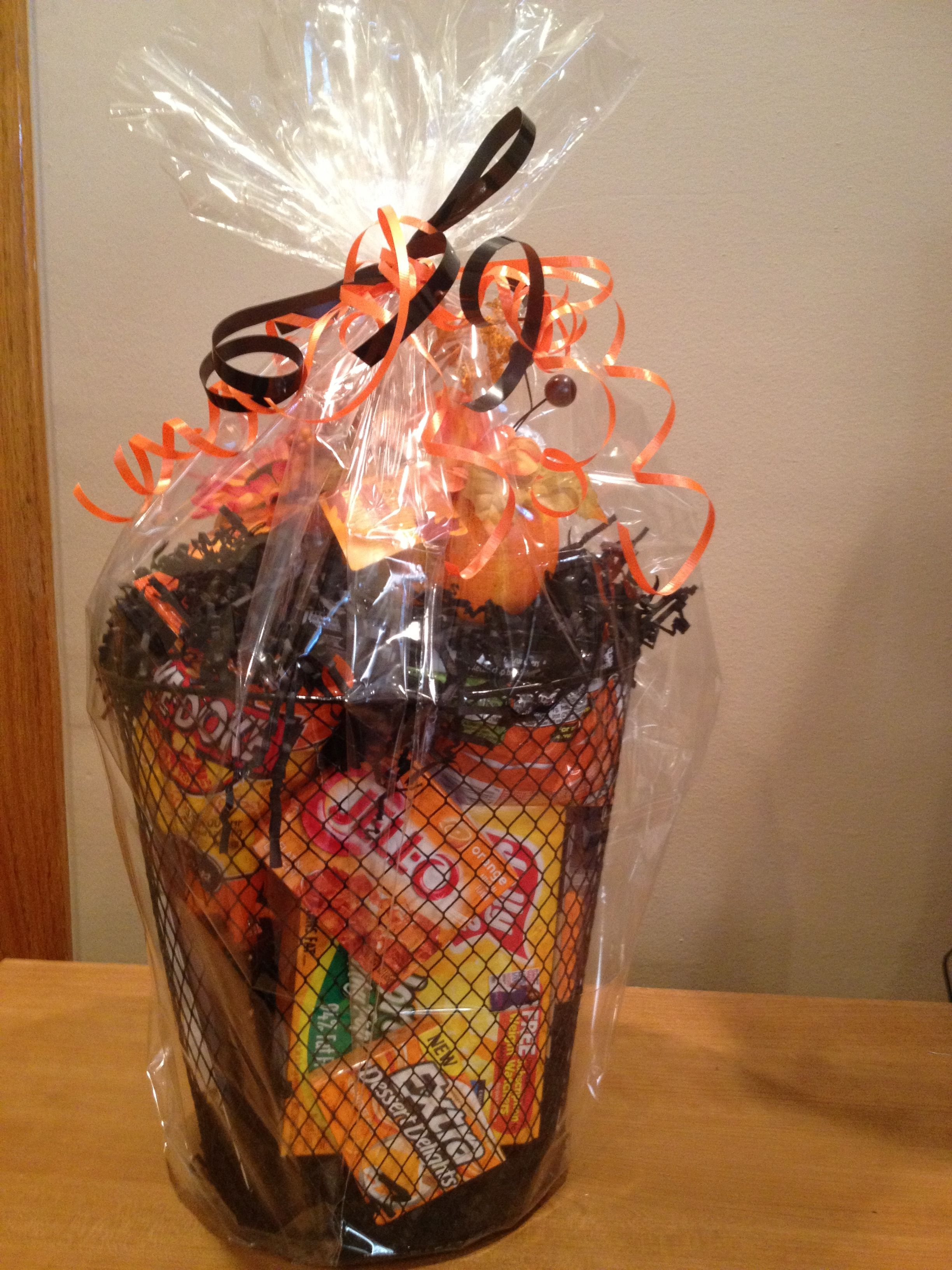 Halloween college care package. Black wire trash can