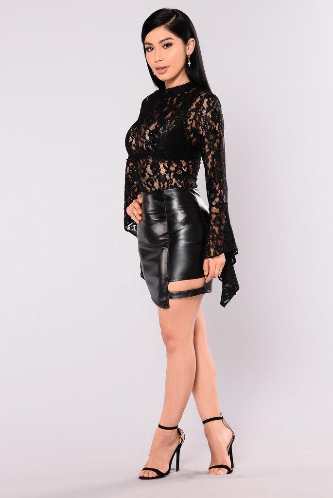 a792300ab5 Cindy Bell Sleeve Stretch Lace Bodysuit - Black | Fashion Nova ...