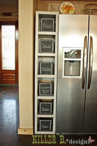 I Built This Six Cube Cabinet To Fill In The Gap In My Cabinetry Between  The Refrigerator And Wall. I Bought Some Baskets From Target To Fill The  Shelves, ...