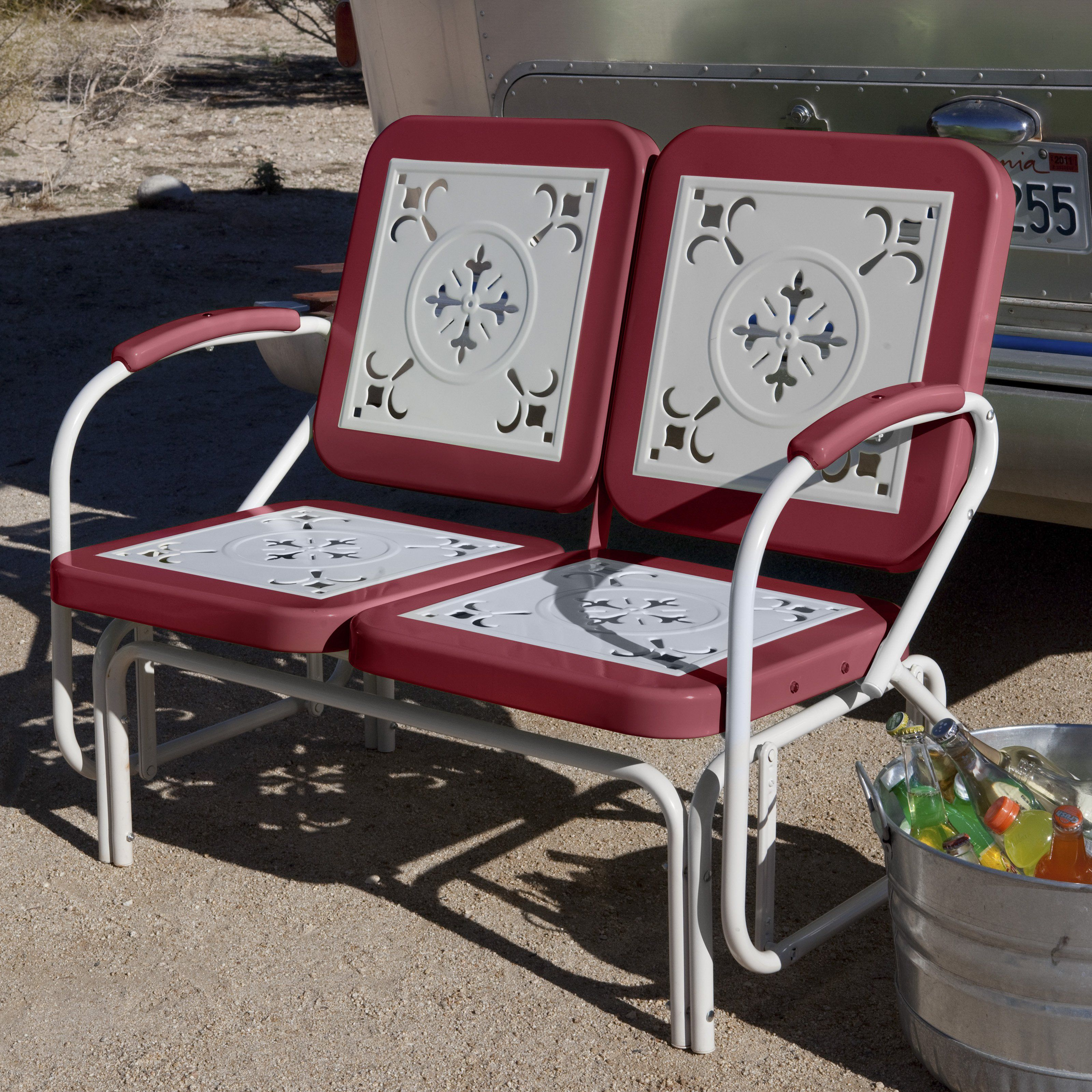 Coral Coast Paradise Cove Retro Metal Outdoor Glider