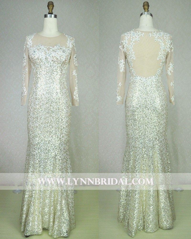 Lace Sequins Long Evening Dress