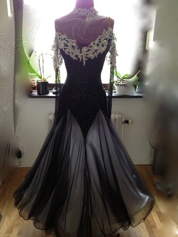 e70ac4c4470c Black ballroom competition gown worn by Valentina Oseledko #ballroom #dress