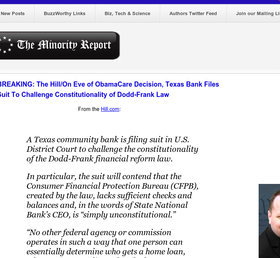 BREAKING: The Hill/On Eve of ObamaCare Decision, Tx Bank Files Suit  2 Challenge Constitutionality of Dodd-Frank Law