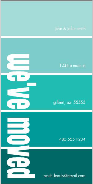 a new take on a change of address card we ve moved paint swatch
