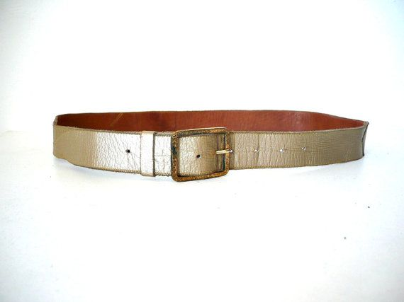 French Vintage Gold Leather Belt by bOmode on Etsy, $35.00