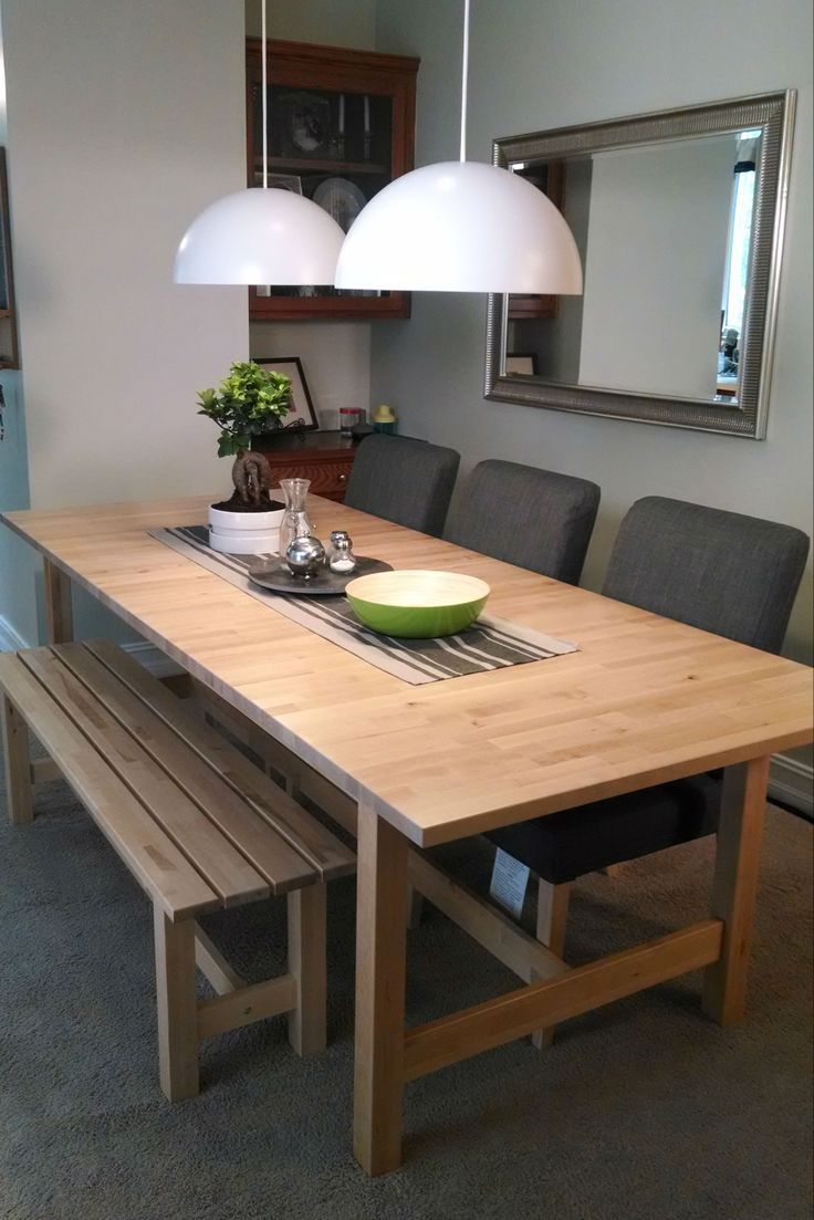 dining room bench table | The solid birch construction of the NORDEN dining table is ...