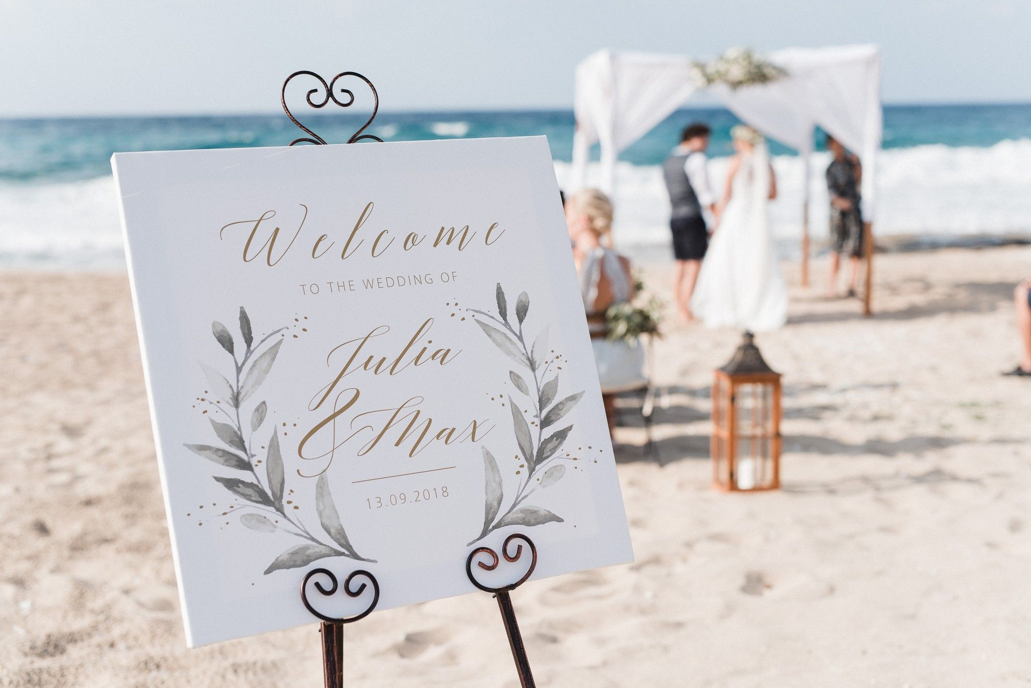 for beach wedding welcome sign inspiredcretan olives