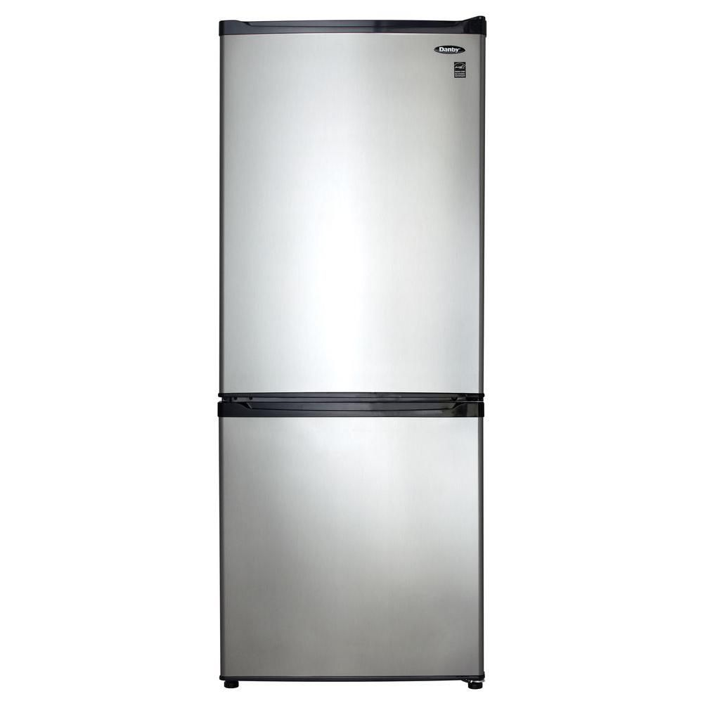 Danby 24 In W 9 2 Cu Ft Bottom Freezer Refrigerator In Stainless Look Counter Depth Bottom Freezer Apartment Size Refrigerator Bottom Freezer Refrigerator