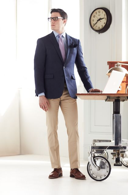 Men's Navy Blazer, Light Blue Dress Shirt, Khaki Dress Pants ...