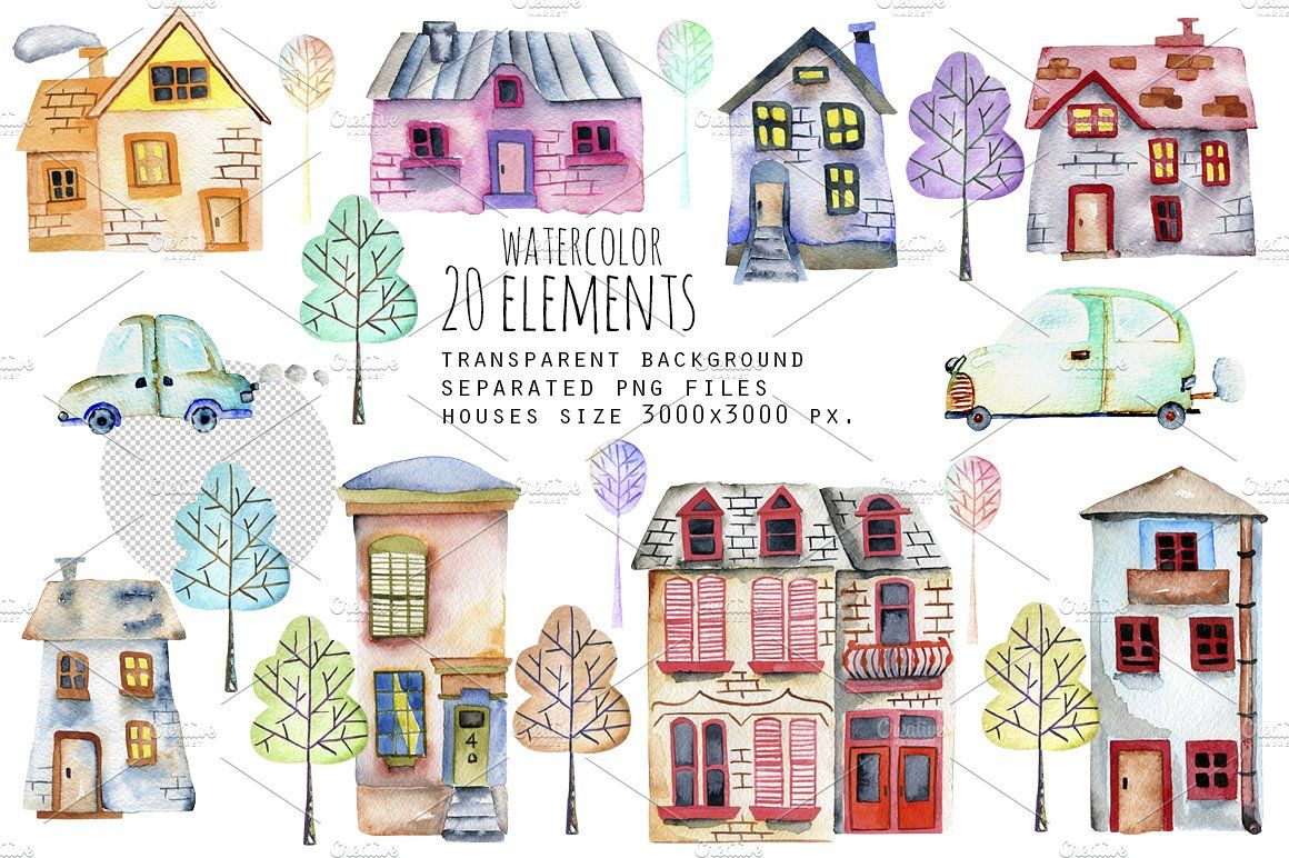 Small Town Watercolor Clip Art Set Watercolor Clipart
