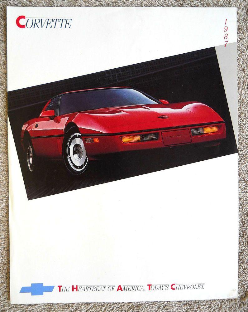 "1987 CHEVROLET CORVETTE Brochure Catalog Literature Sheet ""Combined US Shipping"""