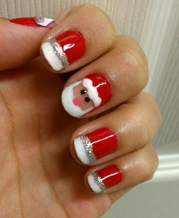 50 Festive Christmas Nail Art Designs | Santa christmas, Santa and ...
