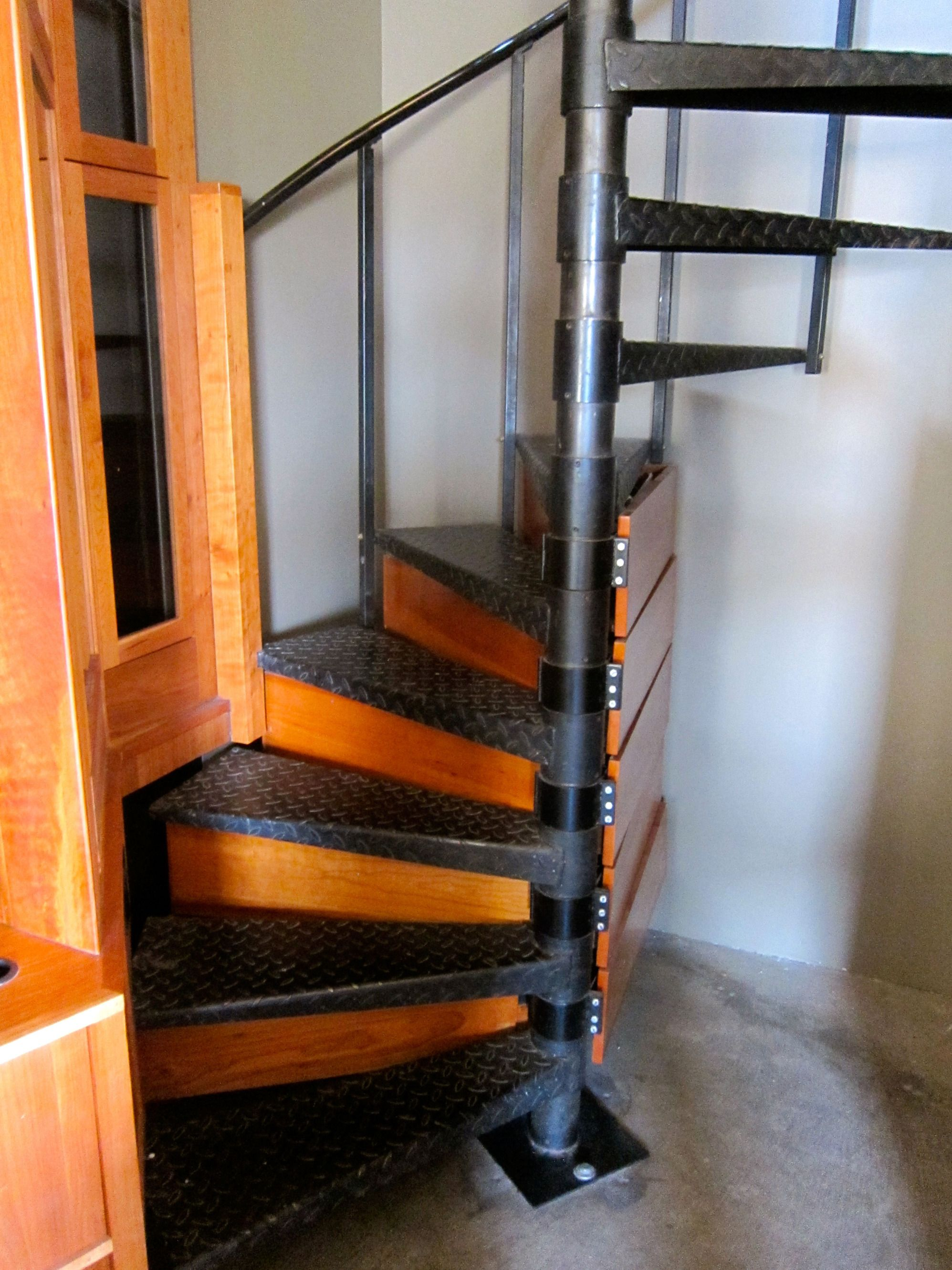 Storage In Spiral Staircase