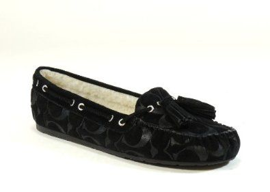 44f7c20ac4d Coach Women s Anita Signature Embossed Suede Shearling Moccasin Slippers