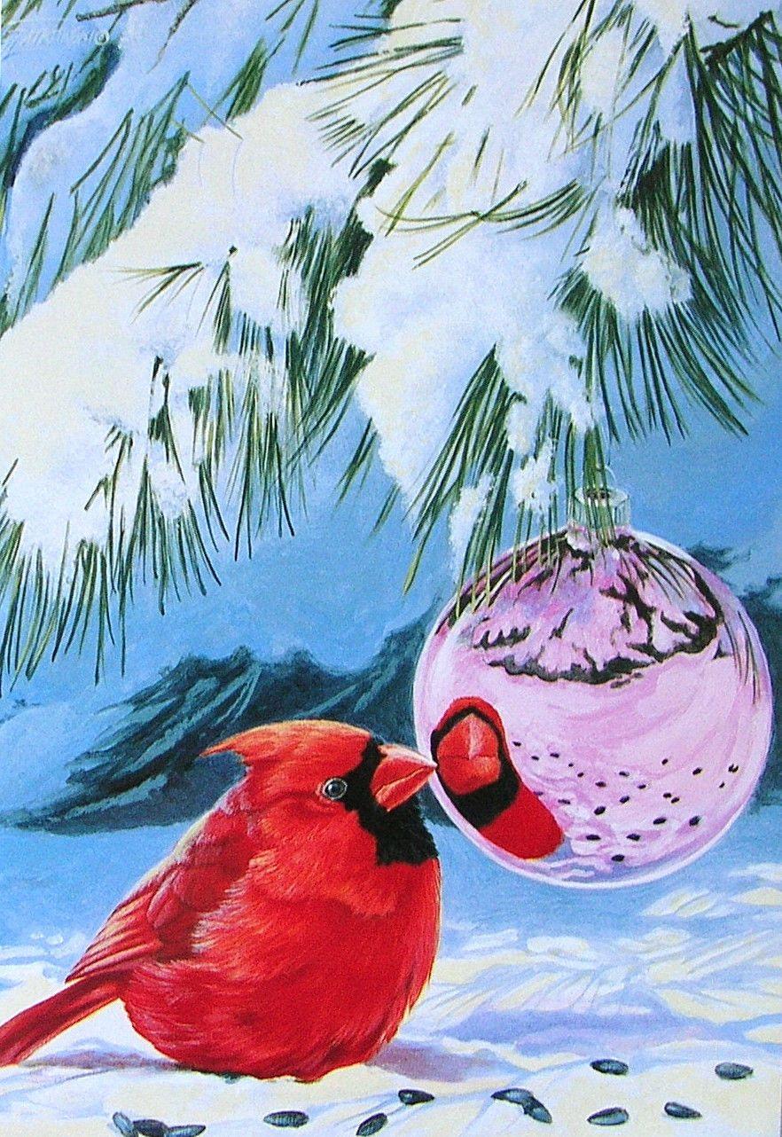 Leanin\' Tree Fred Szatkowski Cardinal Bird Ornament Snow Christmas ...