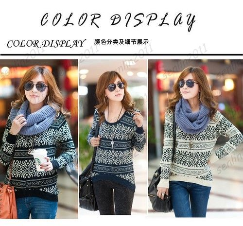 fashion printing Lady Sweater Round Neck Short before long after Knit Pullover | eBay