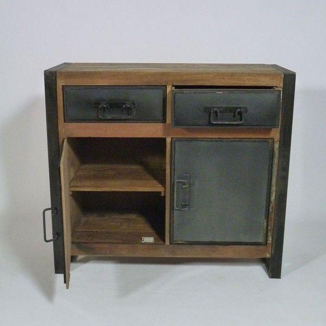 Buffet industriel 2 portes 2 tiroirs métal et bois coloré Mox25 - conforama meuble bas cuisine