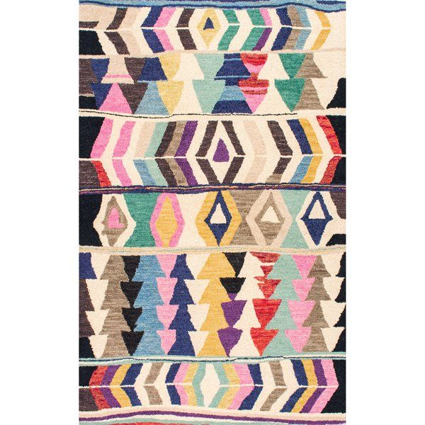 Foti Hand Tufted Pink Beige Area Rug Colorful Rugs