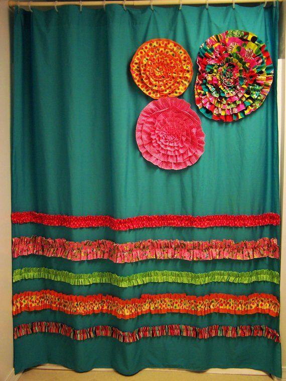 Shower Curtain Custom Made Designer Fabric Ruffles And Flowers Aqua Teal Pink Orange Bright Fun
