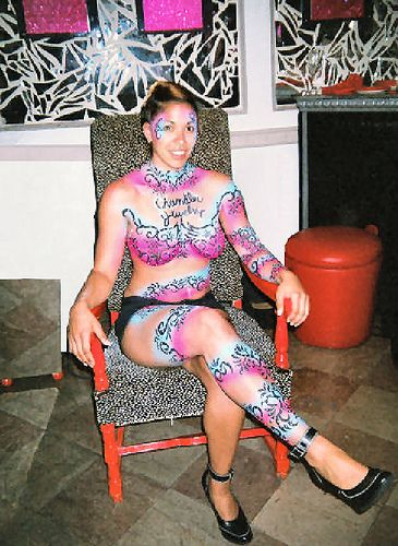 Body Painting done at Aria Nightclub in Boston for the Chandler Jewelry Show 2006.   #pandora #Jewellery