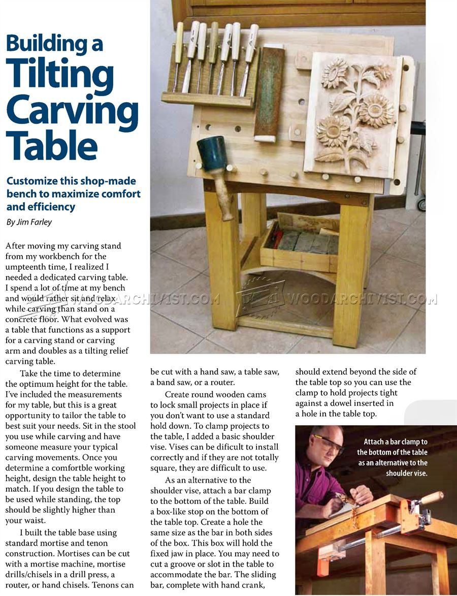 1155 tilting carving table plans wood carving patterns and