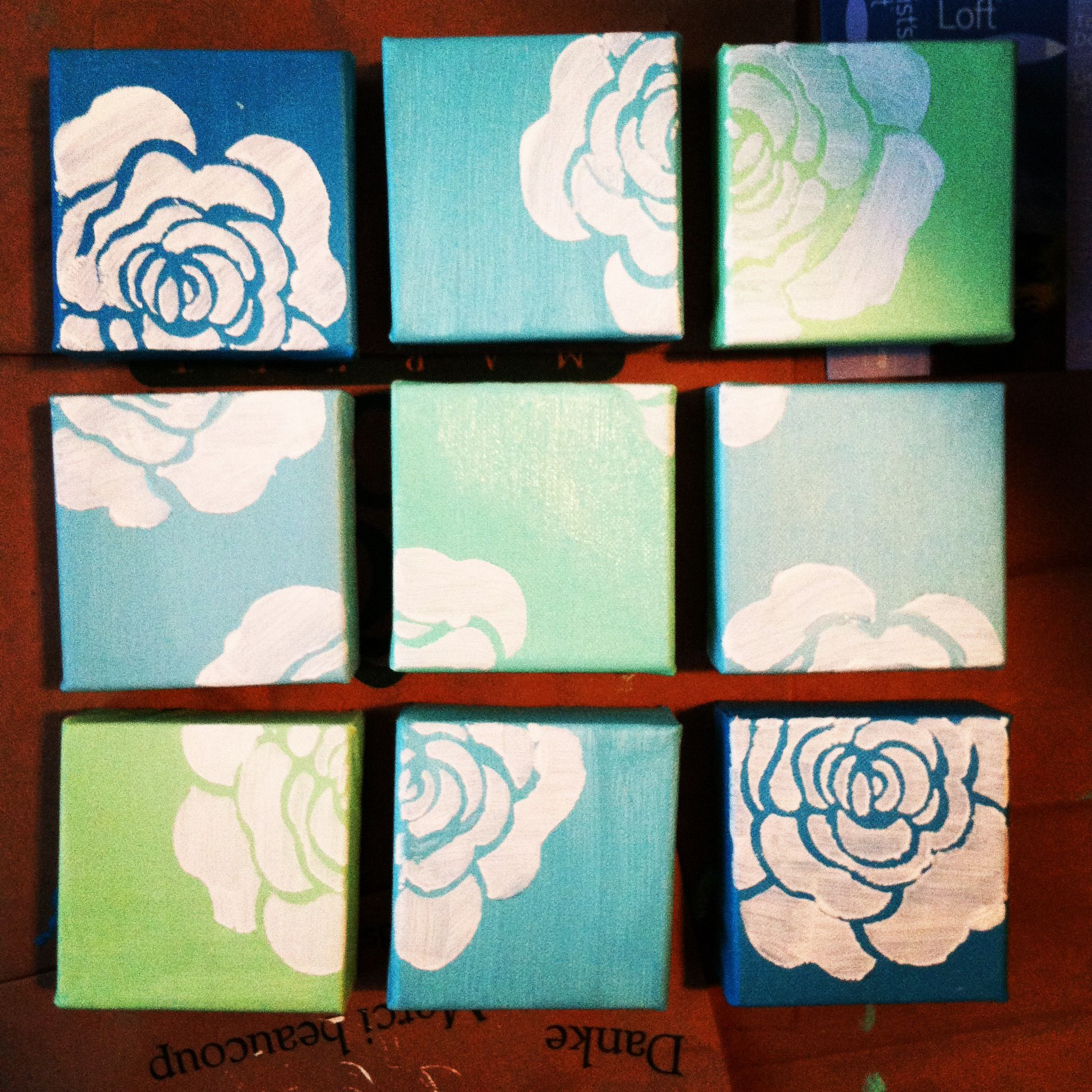 Small Canvas Cubes Painted And Stenciled Find This Pin And