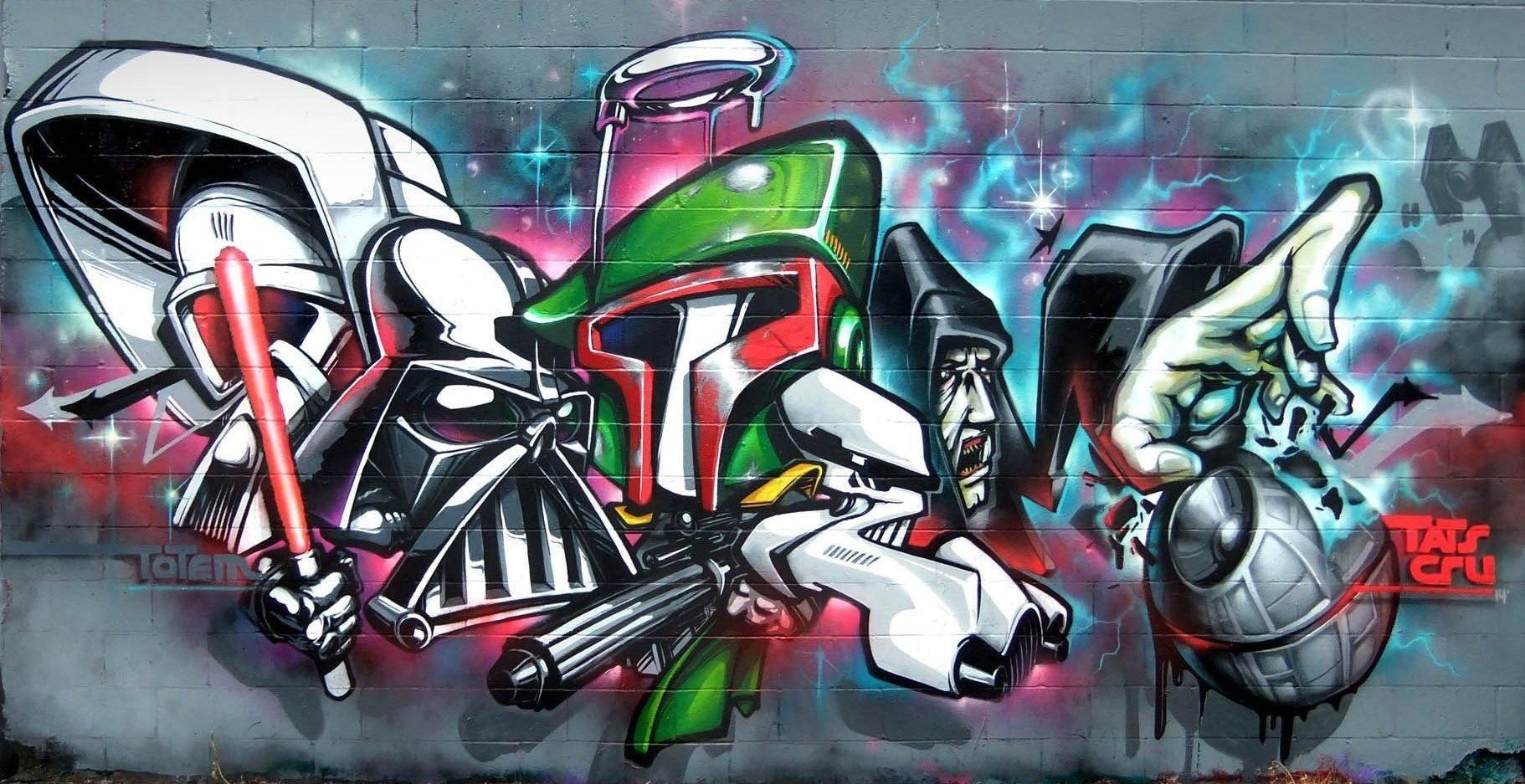wall-painting-on-vinyl-of-illusion-graffiti-kings-star-wars-artwork ... for street wall painting hip hop  150ifm