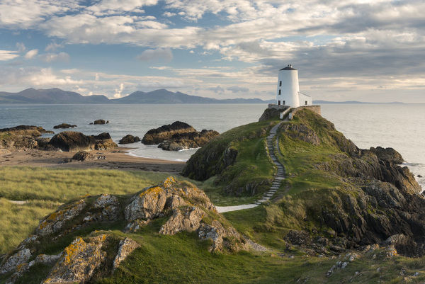 Print of Twr Mawr lighthouse, Llanddwyn Island, late evening light, Anglesey, North Wales, UK