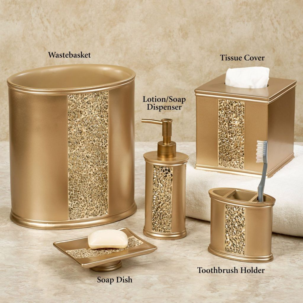 Brown Mosaic Bathroom Accessories. Gold Cracked Glass Bathroom Accessories