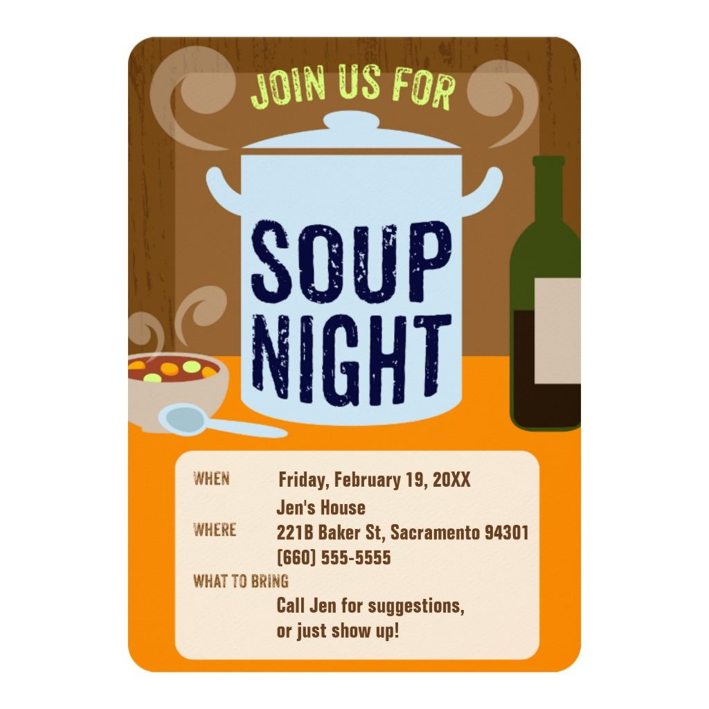 Soup Night Casual Dinner Party Invitation Zazzle Com In 2020 Casual Dinner Parties Dinner Party Invitations Soup Party Ideas