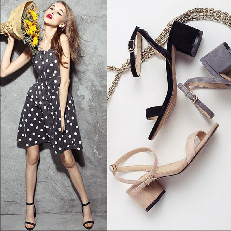 63.50$  Buy now - Choudory 2017 New Concise Women Sandals Suede Mid Heel Runway Milan Fashion Week Gladiator Sandalias Runway Summer Shoes Woman  #magazineonlinewebsite