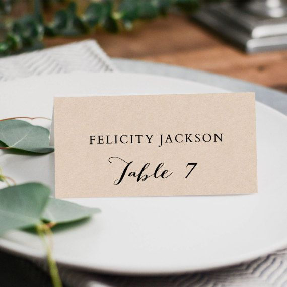Printable Place Card Template - Escort Card Template - Tent