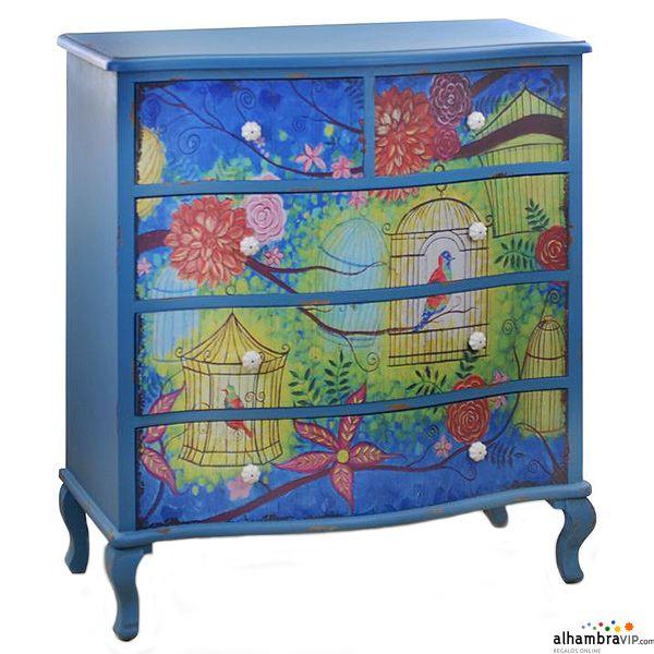 Mueble cajones azul vintage decoraci n alhambravip - Muebles decorados a mano ...
