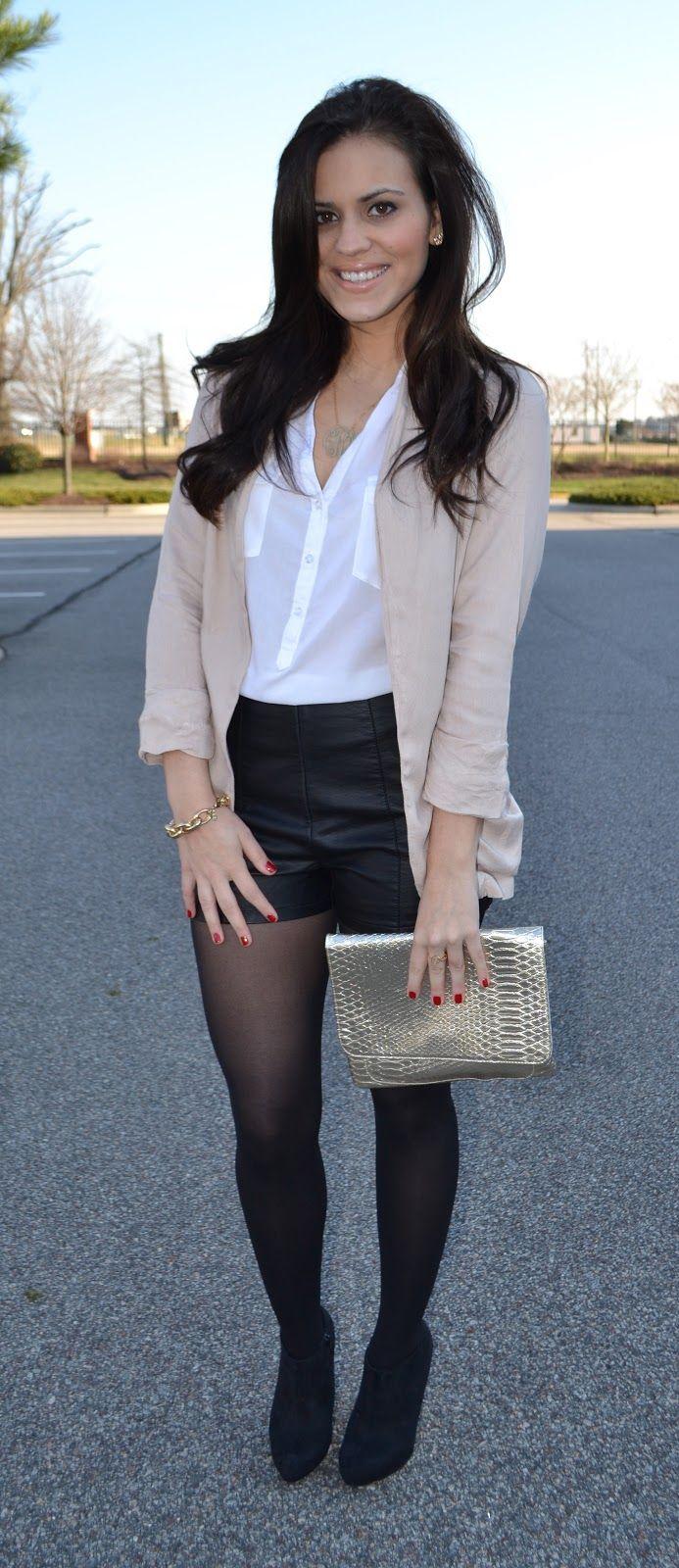 Inspiration dressy shorts nylons boots beige blazer fashion