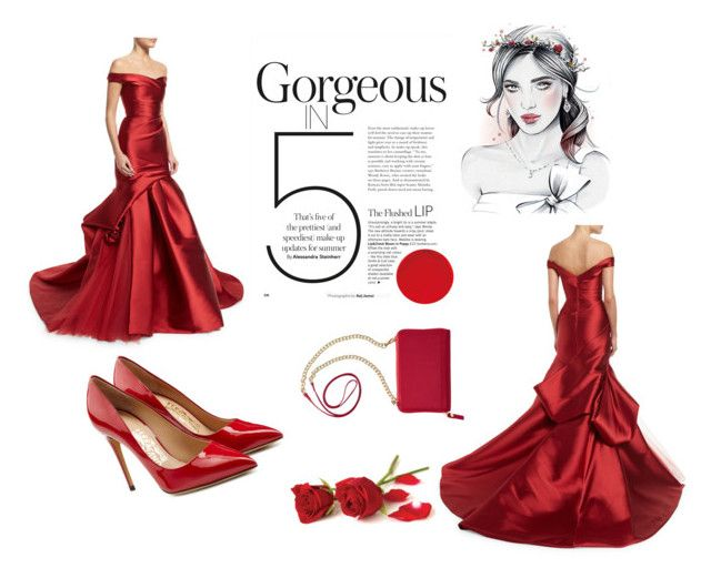 """Ravishing red"" by shoshie13 ❤ liked on Polyvore featuring Monique Lhuillier, Salvatore Ferragamo and TravelSmith"