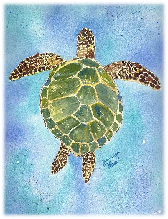 PERSONALIZED CARD Green Sea Turtle art by JenniferLoveArtwork, $3.25