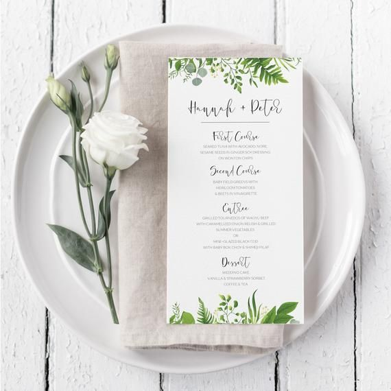 Greenery Wedding Menu - Eucalyptus Menu - Green Leaves Wedding Menu - Printable Wedding Menu - Instant Download - DIY Wedding Menu Template