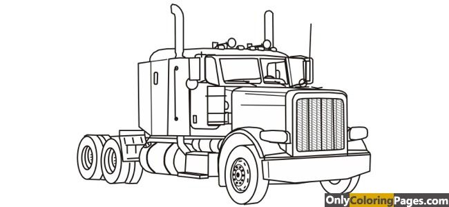 Kenworth W900 Coloring Pages With Images Truck Coloring Pages