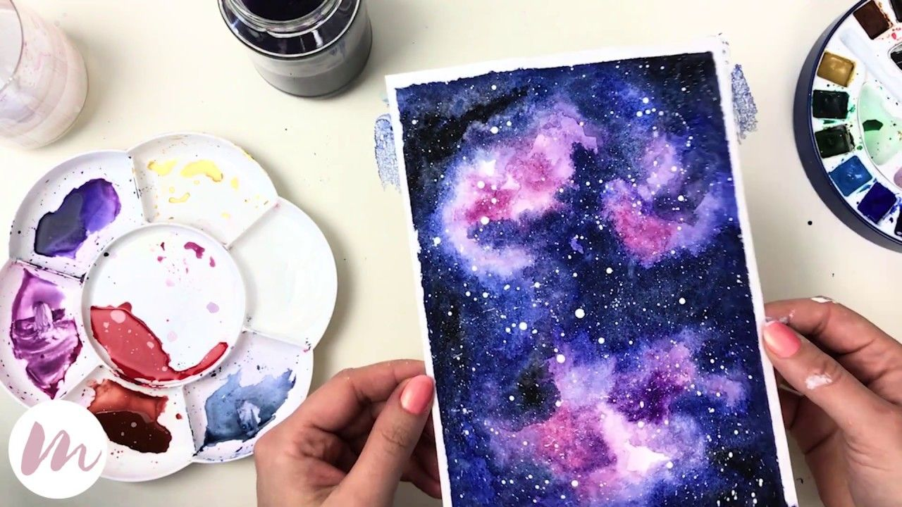 Galaxie Malen Modernes Aquarell Youtube Mit Bildern
