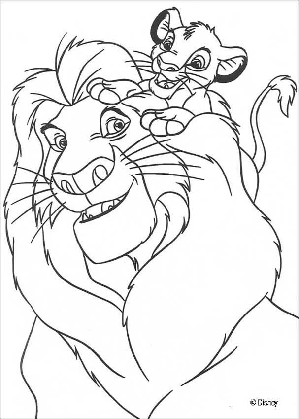 Simba with Mufasa coloring page | Lion king Baby Shower | Pinterest ...