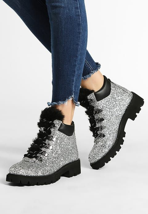 Steve Madden ASUR - Platform boots - silver glitter - Zalando.co.uk