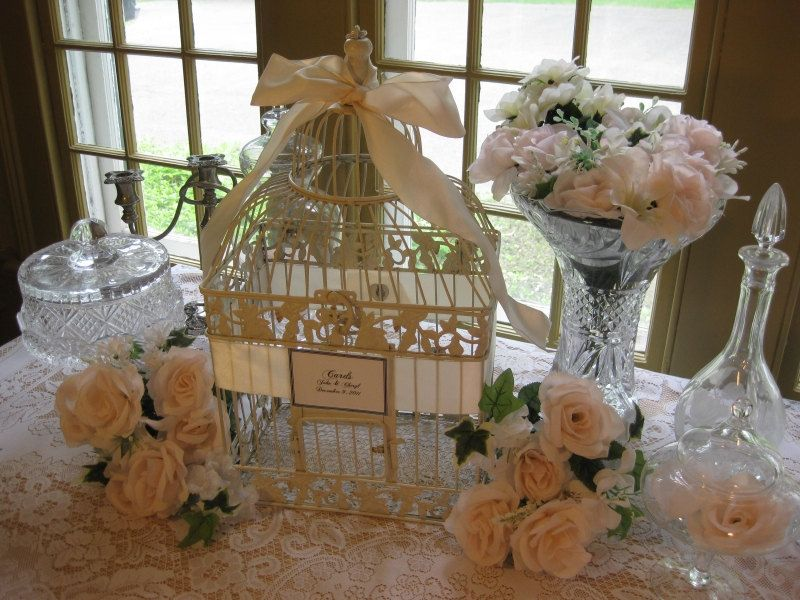 antique white bird cage with peach ribbon wedding card box holder birdcage wedding birdcage