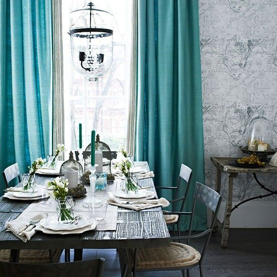 White and turquoise rustic dining room traditional for Traditional dining room color ideas