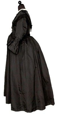 Museum Deaccession Black Silk Faille Lace Collar Maternity Mourning Gown c. 1870