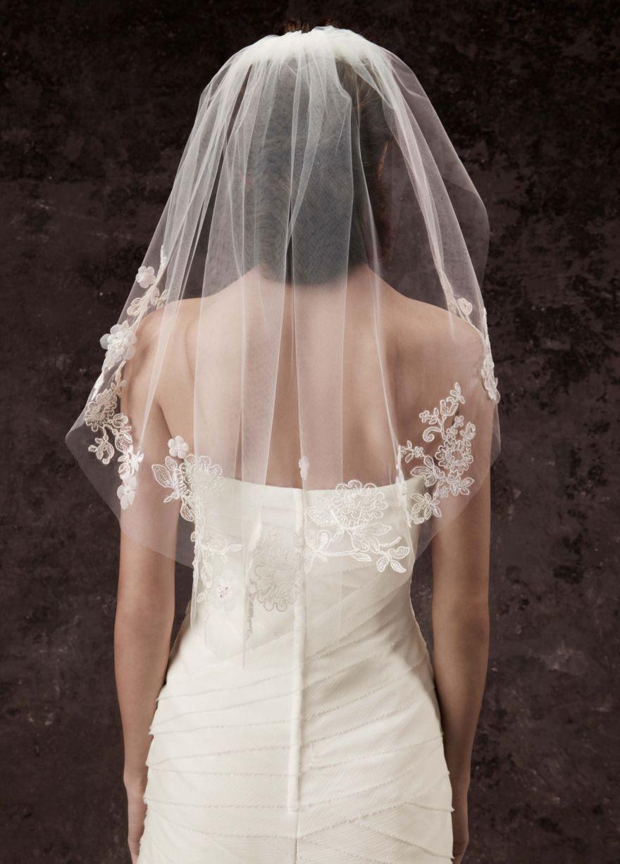 Singletier lace embellished cage veil davidus bridal wedding