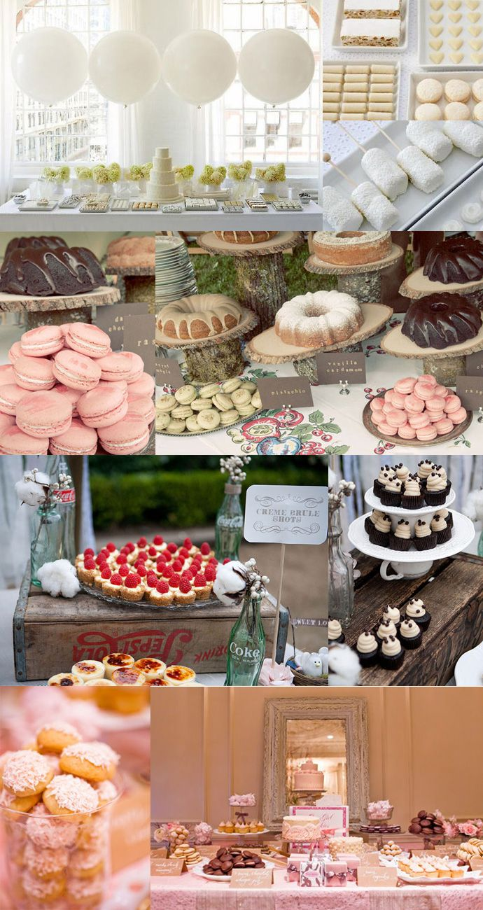 Love the dessert on the wooden boxes with a white table cloth or